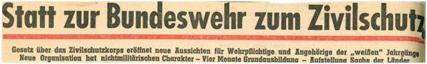 Zivilschutz statt Bundeswehr